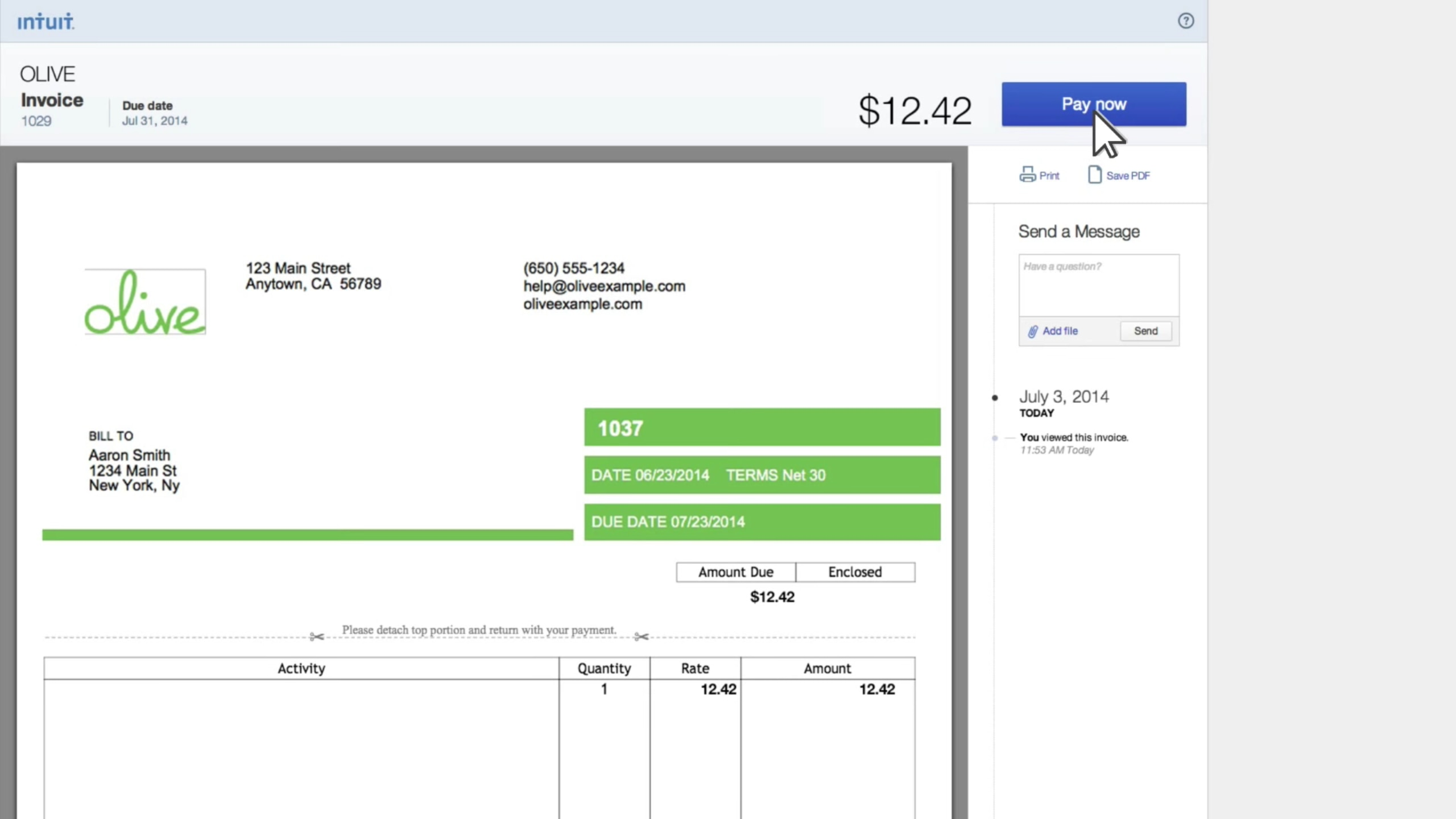 Add A Pay Now Button To Your QuickBooks Invoice - What does a quickbooks invoice look like