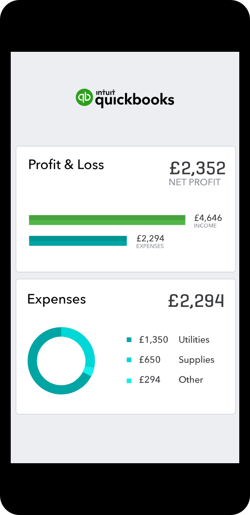 Phone showing a minimised version of the QuickBooks Online accounting software dashboard on a mobile