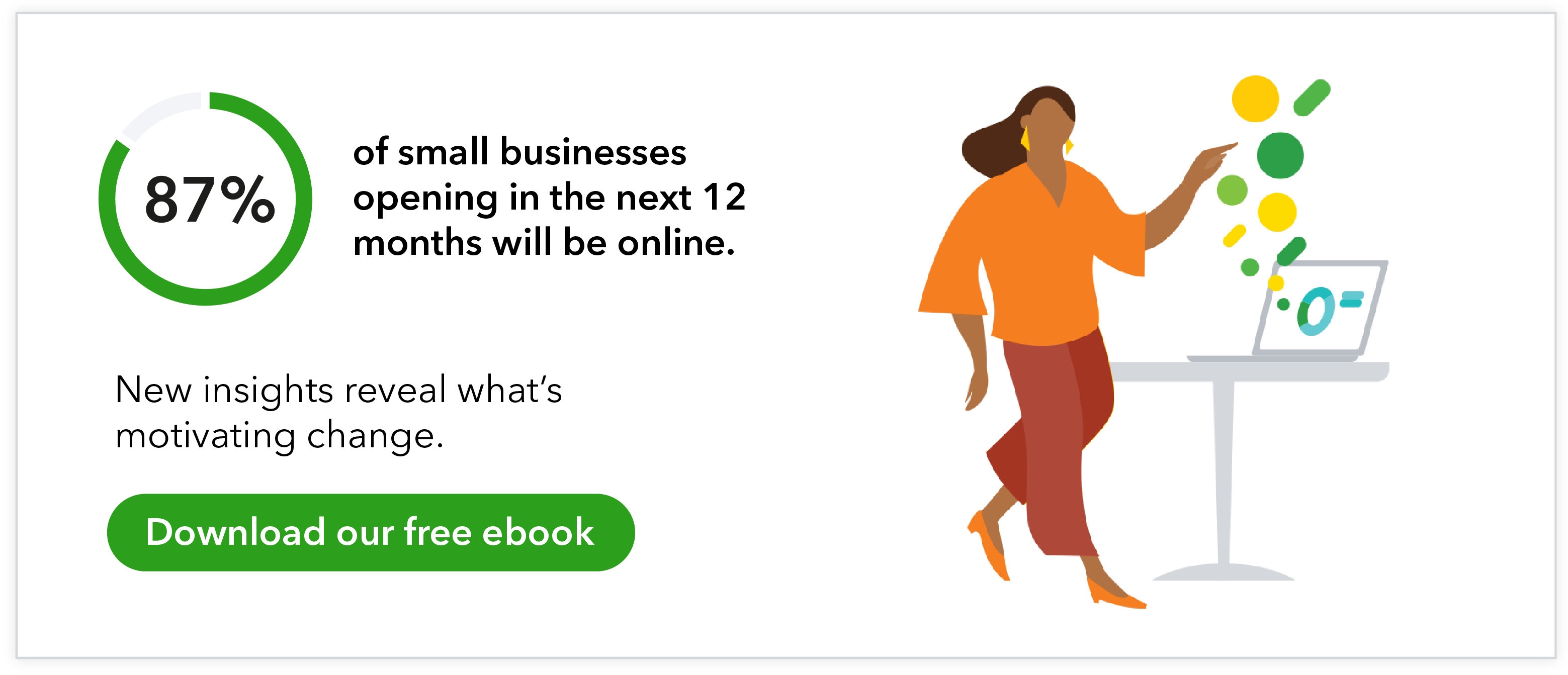 87% of small businesses opening in the next 12 months will be online. New insights reveal what's motivating change. Download our free ebook.