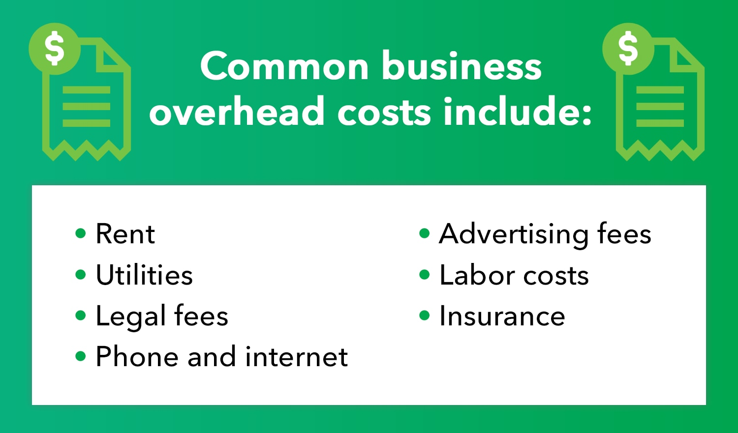 Common business overhead costs include: rent, utilities, legal fees, phone and internet, advertising fees, labor costs, and insurance.