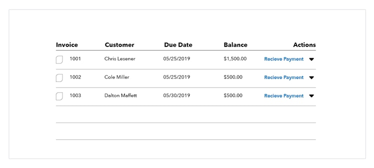 An example of an invoice