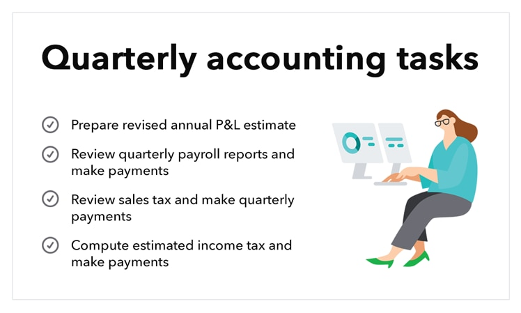 Business accounting suggested quarterly tasks.