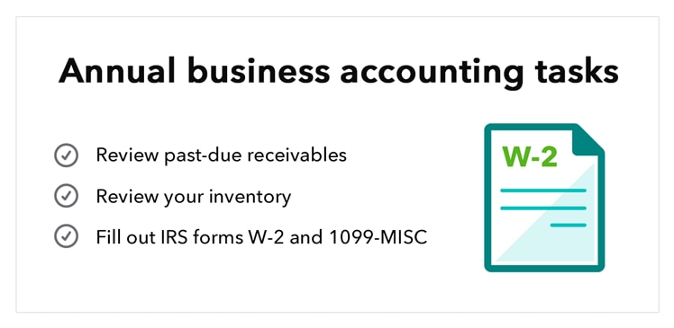 Business accounting basics: suggested annual tasks, including W2.
