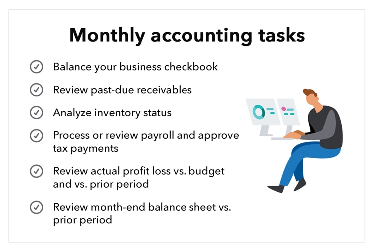 Business accounting tasks monthly.