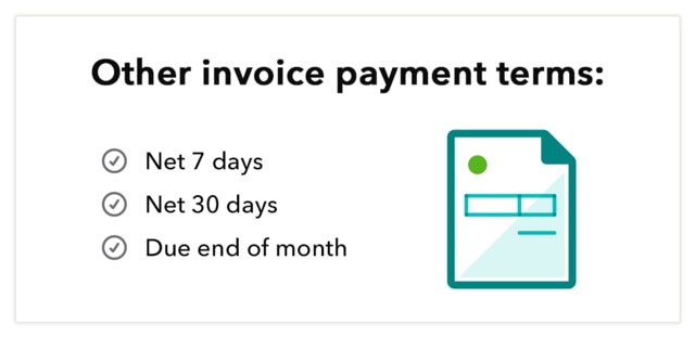 """Graphic shows abstract invoice, with the text """"Other invoice payment terms: Net 7 days, Net 30 days, Due end of month"""""""