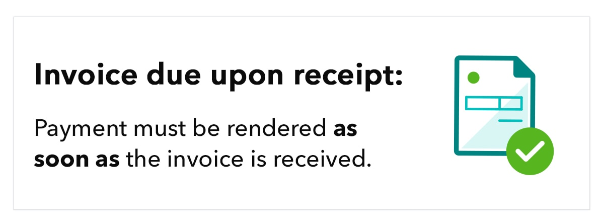 """Alt text: Graphic shows abstract invoice illustration, accompanied by the text """"Invoice due upon receipt: Payment must be rendered as soon as the invoice is received."""""""