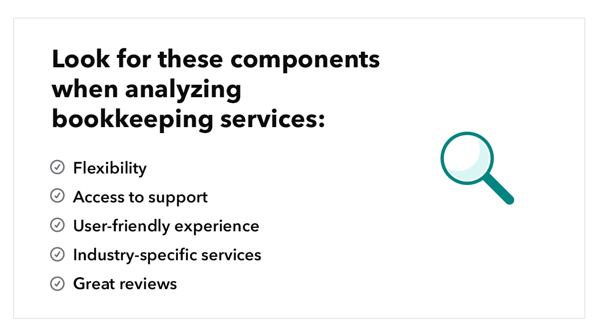 Components to look for when analyzing bookkeeping services