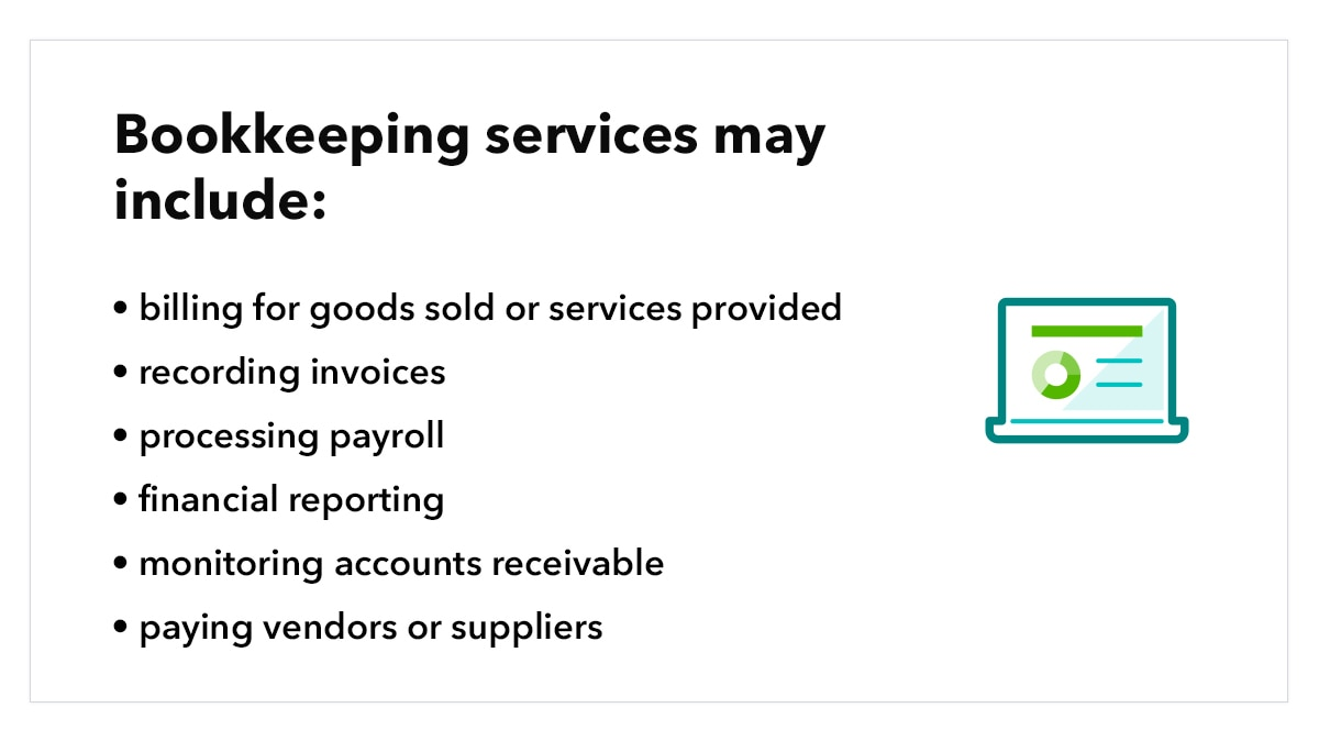 What bookkeeping services may include