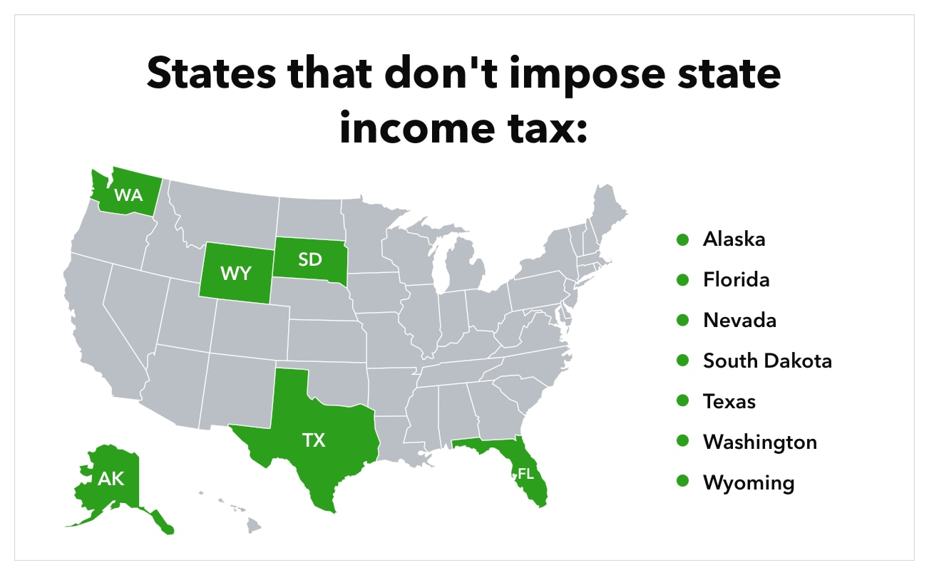 Map shows states that don't impose state income tax