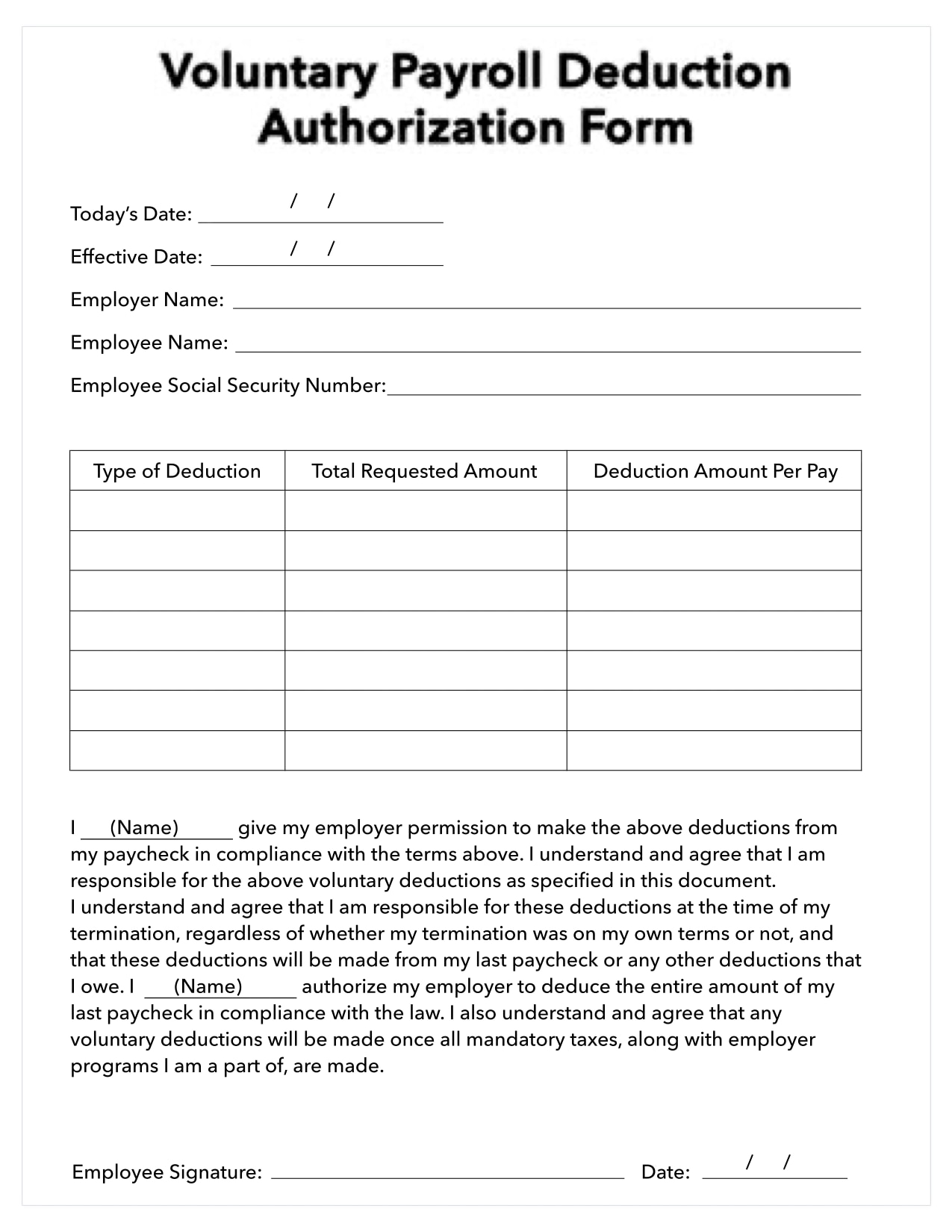 Payroll deduction authorization form example