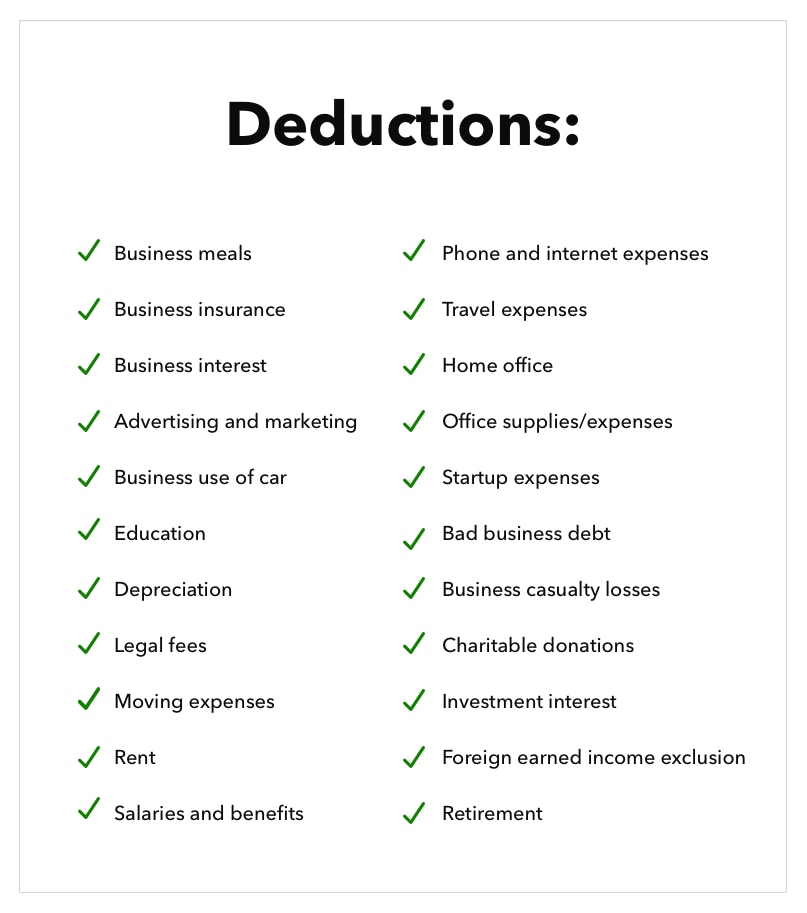 List of small business tax deductions