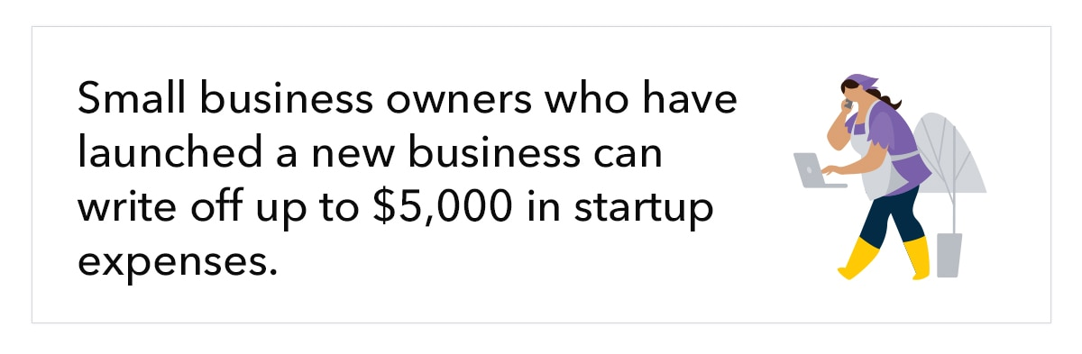 """Illustration of woman, with text """"Small business owners who have launched a new business can write off up to $5,000 in startup expenses."""""""
