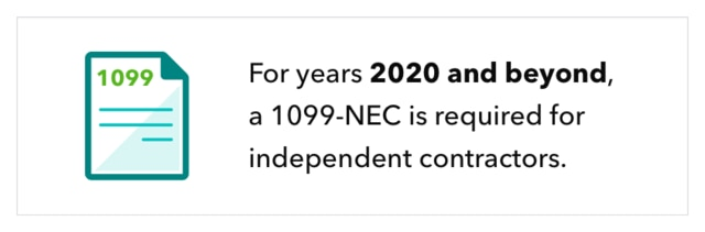 For years 2020 and beyond, a 1099-NEC is required for independent contractors