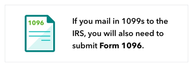 If you mail in 1099s to the IRS, you will also need to submit Form 1096.