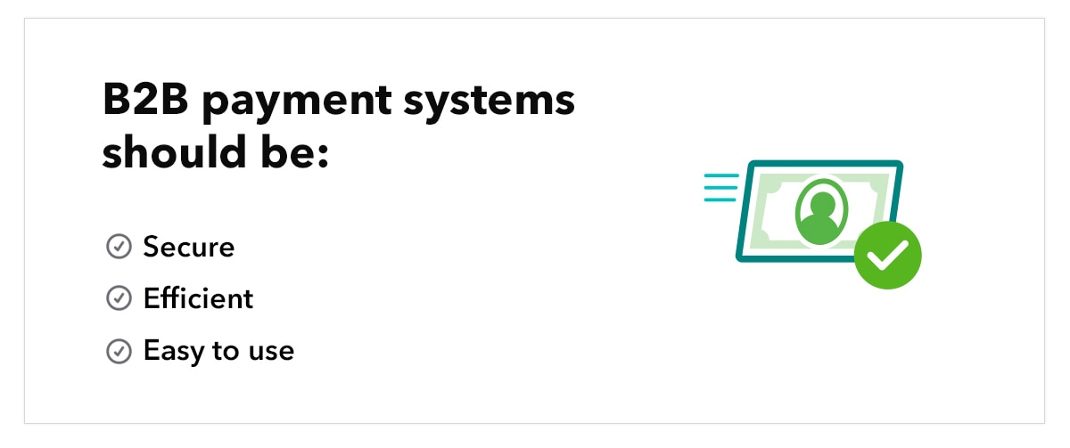 """Illustration of cash and check mark, with text """"B2B payment systems should be: secure, efficient, easy to use"""""""