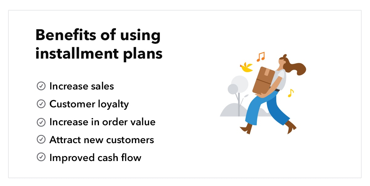 """Illustration of woman holding boxes, with text """"Benefits of using installment plans"""""""