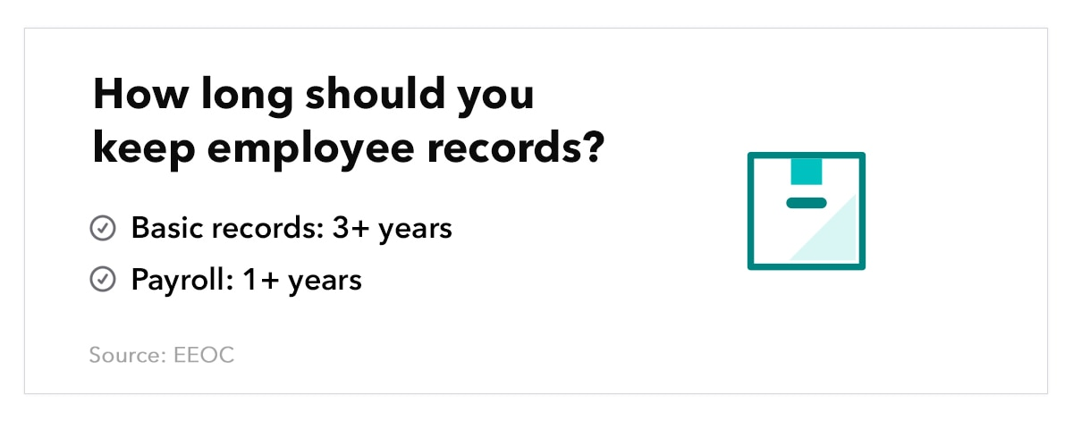 Graphic of a filing drawer, accompanied by text that reads ``How long do you keep employee records? Basic records: 3+ years; Payroll: 1+ years.`` Source: EEOC