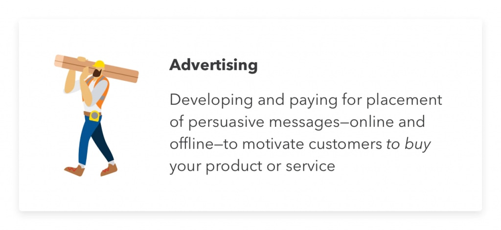 Advertising as part of a small business marketing strategy.